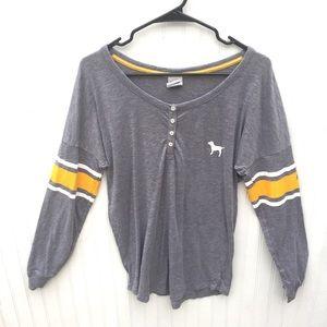 VS Pink Henley Pajama Long Sleeve